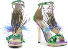 1143  Mardi Gras Peacock Burlesque Heels - These are so fun! I love them and would wear them in a New York minute.
