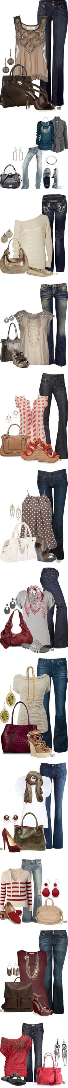 """""""Jean Sets"""" - Gotta love 'em all - Click image to find more Women's Fashion Pinterest pins"""