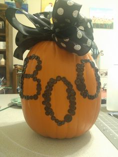 Cutest decorated pumpkin with buttons