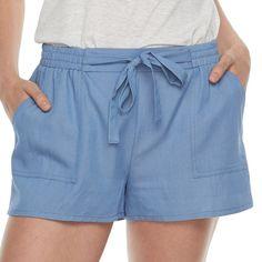 Juniors' Joe B Tie Front Soft Shorts, Blue