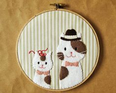 Daddy & Me Cat Embroidery Hoop ]