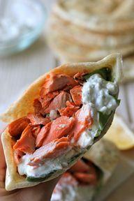 Broiled Salmon Gyros