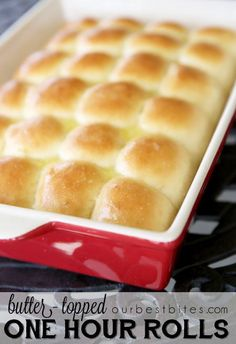 Butter-Topped One Hour Dinner Rolls Our Best Bites: One hour dinner rolls VERDICT: Really good. Nice presentation in the pan. They took longer than an hour, but much less time than the Pioneer Woman rolls I was making before. Tortillas, Bread Recipes, Cooking Recipes, Bread Bun, Bread Rolls, Yummy Food, Tasty, Bread And Pastries, Sweet Bread