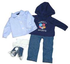 Boy's Varsity Outfit This Varsity outfit has a Varsity Sports Sweatshirt with Hoodie.  Underneath the Sweatshirt is a nice Blue and White Striped Shirt, coordinating Blue Jeans, Underwear, Socks, and Denim Shoes.  Yes, it does include shoes and socks :) C-610 $21.50