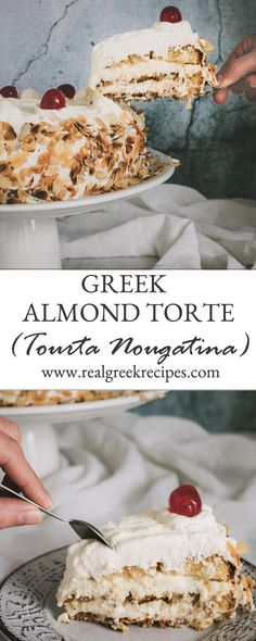 This Greek Almond Torte is how heaven tastes like! Made with layers of almond meringue cake, an airy pastry cream & homemade whipped cream. Coated with toasted flaked almonds on the sides and glace cherries on top. Greek Sweets, Greek Desserts, Greek Recipes, Just Desserts, Asian Recipes, Almond Torte Recipes, Almond Cakes, Almond Torte Cake Recipe, Whipped Cream Cakes