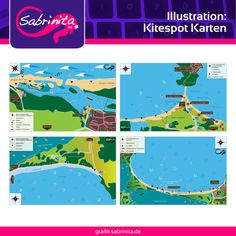 Referenzen: Illustration  Karten zur Erklärung von Kitespots