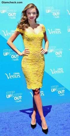 Miranda Kerr Sexy in Yellow Lace Dress by Reem Acra