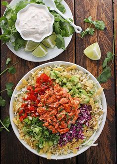 Fish tacos, a specialty of Baja California in Mexico, are usually made with a mild white fish. This twist on the classic recipe uses salmon.