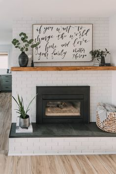 Update Brick Fireplace, Brick Fireplace Wall, Painted Brick Fireplaces, Home Fireplace, Fireplace Remodel, Fireplace Inserts, Painting Brick Interior, Wood Mantels, Living Room Decor Cozy