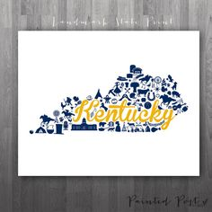 Murray Kentucky Landmark State Giclée Print  8x10  by PaintedPost, $15.00 #paintedpoststudio - Murray State University - Racers - State Map Print - Custom Kentucky Print- What a great and memorable gift for graduation, sorority, hostess, and best friend gifts! Also perfect for dorm decor! :)