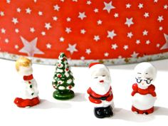 Christmas Porcelain Figurines Miniatures Mr Mrs Santa // Tree // Caroler // Vintage Set of Four // Made in Japan   Holiday Accents 1980s