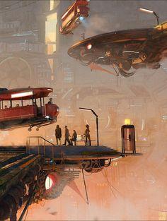 "Skytaxi - by Lorenz Hideyoshi Ruwwe ""new personal work Modo base, Photoshop paint used various assets, kitbashing pieces"" New Retro Wave, Space Pirate, Cyberpunk Art, Fantasy Landscape, Retro Futurism, Sci Fi Fantasy, Sci Fi Art, Dieselpunk, Futuristic"