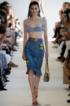 Altuzarra Spring 2017 Ready-to-Wear Fashion Show -ruffled bra - denim printed phyton