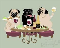 WINEing Pug - Matted Print Sara England Designs From your friends at…