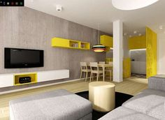 Love the use of yellow in this open plan living room
