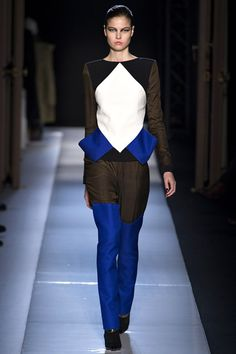 Mouret A/W 2013/14. Looks like royal blue thigh high boots but it's actually cut into the trousers.