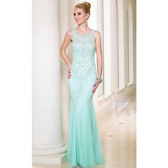 Sean Collection 50855 Prom Long Dress Long High Neckline Sleeveless ($358) ❤ liked on Polyvore featuring dresses, gowns, formal dresses, mint, long formal gowns, bodycon dress, high neck prom dresses and formal gowns