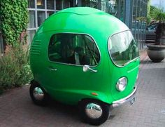 pea car...I think it'd be a riot to make out in one of these. >> Perfect for getting back and forth to the post office!