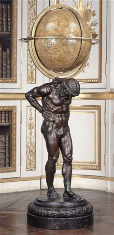 Atlas carrying the world or the weight of the world on his shoulder?  Globe in Versailles, used by Louis XVI