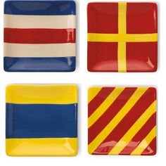 Nautical Flags Nautical Flag Plate Set of 4 by Boston International #BostonInternational