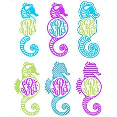 Seahorse Sea horse Monogram Svg Cuttable Design for Silhouette Cameo and Cricut Explore machines. Six file formats: JPEG, PDF, EPS, DXF and SVG,