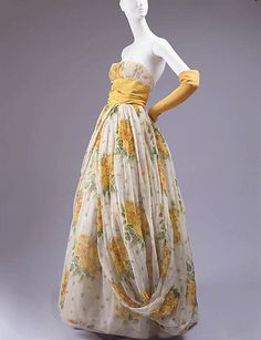 """Nuit D'Aout""  House of Dior  (French, founded 1947)  Designer: Christian Dior (French, 1905–1957) Date: spring/summer 1954 Culture: French Medium: silk. http://www.metmuseum.org/Collections/search-the-collections/80003832?rpp=20=1=*=Gowns=17"