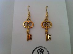 CIRCLE SKELETON KEY EARRINGS WITH 22K GOLD PLATED HOOKS- BRAND NEW