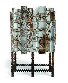 """Heavily inspired on Portuguese history and culture, the Dom Heritage is a cross between two of Boca do Lobo's most iconic design pieces, keeping the form of the Dom Manuel cabinet, with the use of the """"azulejo"""" finish found on the Heritage pieces.  #bocadolobo #passioniseverything #luxuryfurniture #designfurniture #exclusivedesign #creativedesign #designinpirations #moderndesign #furnitureideas #heritage #paintedtiles #cabinetdesign #livingroomideas"""
