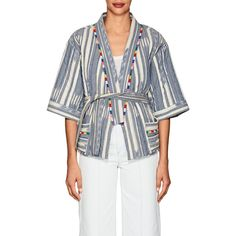 Warm Women's Weekend Folkloric-Print Cotton Kimono Jacket (33.150 RUB) ❤ liked on Polyvore featuring outerwear, jackets, blue, embroidered jackets, blue cotton jacket, blue jackets, kimono jacket and cotton jacket