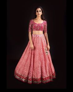 Dawn pink hundi block printed chanderi lehenga with red gota-mirror blouse in raw silk and red heavy net dupatta Dress Indian Style, Indian Fashion Dresses, Indian Designer Outfits, Designer Dresses, Indian Wedding Gowns, Indian Bridal Lehenga, Indian Bridal Outfits, Wedding Dress, Stylish Blouse Design