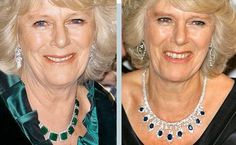 Gifts: Camilla was gifted these necklaces with sapphires (right) and emeralds (left) short...