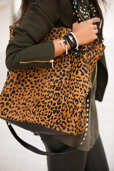 Leather, animal print, studs.