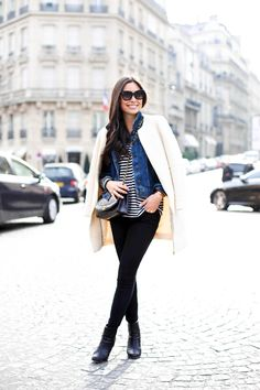 Denim jacket and Stripe sweater