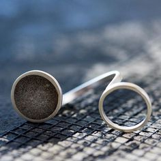 Double Circles Concrete Ring, by BAARA Jewelry