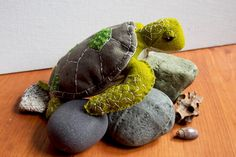 Green Sea Turtle  Hand Stitched Soft Sculpture by fogandswell