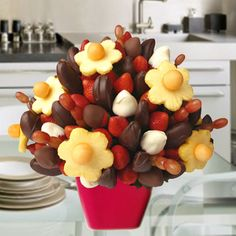 Apples & Dipped Berries Bouquet - One of our most popular bouquets. Made up of pineapples shape of Daisies, granny smith apples dipped in dark chocolate, delicious strawberries hand dipped in milk and white chocolate, succulent grapes and cantaloupe. You can create your own edible fruit arrangements. Price starts from $40  http://www.VaaV.ca
