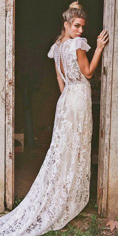 24 Top Wedding Dresses For Bride ❤️ boho beach open back with cap sleeves lace wedding dresses ❤️ Full gallery: https://weddingdressesguide.com/top-wedding-dresses/ #bride #wedding #bridalgown