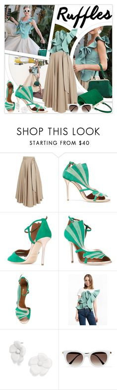 """Add Some Flair: Green Gingham Ruffled Top"" by lucky-ruby ❤ liked on Polyvore featuring TIBI, Malone Souliers, Thierry Lasry, GREEN, gingham and ruffledtops"