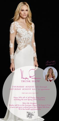 Don't miss your chance to not only save on the latest Hayley Paige collection, but to meet the designer herself! Trunk show 8/6-8, Meet & Greet 8/7 {The White Dress by the shore} #hayleypaige #dorigown #josiegown