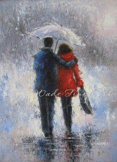 Rain Romance Art Print lovers in rain loving by VickieWadeFineArt