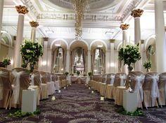 George Hotel Edinburgh ceremony. Elegant with white organza sashes. www.zenith-events.co.uk Ceremony Decorations, Table Decorations, Christmas Wedding, Sash, Wedding Ceremony, Wedding Backdrops, Elegant, Edinburgh, Jr