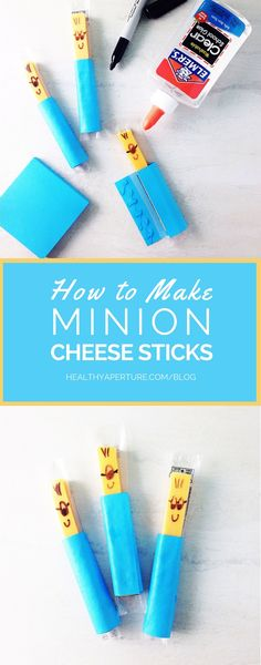 This fun Minion Cheese Stick is a quick and easy idea for a healthy party snack for kids.