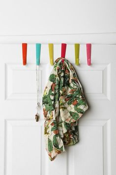 15 Over-the-Door Solutions For Your Storage Woes Neon Spray Paint, Neon Home Decor, Cluttered Bedroom, Over The Door Hooks, Cool Coats, Glass Fit, Apartment Furniture, Apartment Ideas, Apartment Therapy