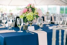 Navy Linen with Blush Napkins and Silver Chiavari Chairs   Modern Coastal Wedding at Harborside East by Charleston Wedding Planner ELM Events