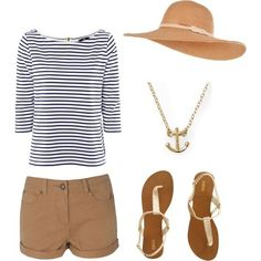 Anchors away . the perfect outfit for a day on the yacht. Next on the list: a yacht. Short Outfits, Casual Outfits, Cute Outfits, Fashion Outfits, Womens Fashion, Fashion Trends, Spring Summer Fashion, Spring Outfits, Mode Style