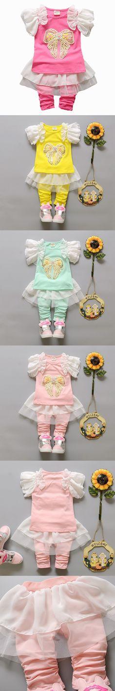 2016 New Baby Girls Clothes Summer Sets Toddler Girls Clothing Sets Tulle Dress Leggings Baby Clothing Girl Dress Set