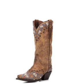In the Daisy Blue Boot, Dan Post gives distressed leather a classic feminine look. Dainty floral embroidery covers the collar, toe, and heel, while a thick black stitch traces the border. The signature tan sanded road leather provides striking contrast to the delicate embroidery. This is a unique style for the modern cowgirl!