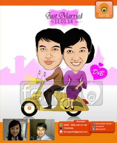 #caricature #caricatures #toon #drawing #vector #paint #digital #karikatur #family #potrait #vespa #bikers #prewedding #wedding #couple #love #marriage #sweet #lover