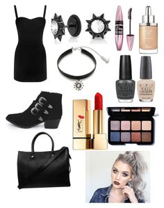 """""""Girls night out"""" by novastar111 ❤ liked on Polyvore featuring Alexander McQueen, Maybelline, Christian Dior, Yves Saint Laurent, Smashbox, Bling Jewelry, OPI, Ticoo and Paul & Joe"""
