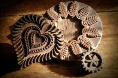 Carved Printing Blocks These wonderful wooden carvings were used in printing either textiles or wallpaper in the late or early century. Ranging from to with some remnants of color still visible. The Heart Printing Block is SOLD. by renee Butter Molds, Churning Butter, Textiles, Tampons, Country Primitive, Cookies Et Biscuits, Wood Carving, Heart Shapes, Vintage Items